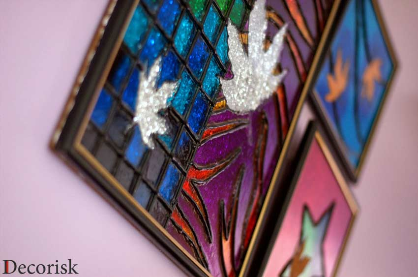 glass painting maple leaf