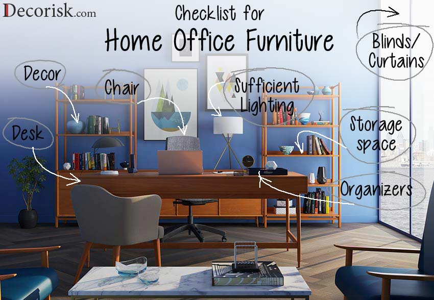 home office decor furniture checklist