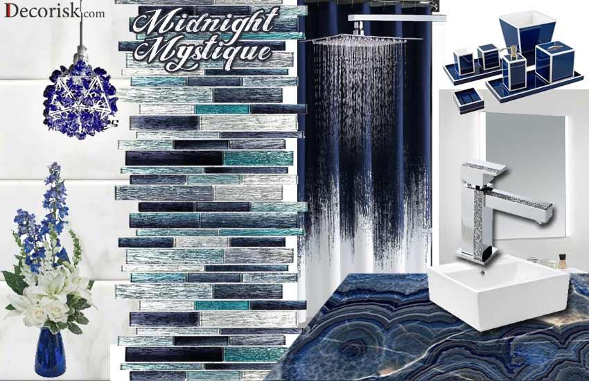 dark-blue-white midnight dark bathroom color ideas