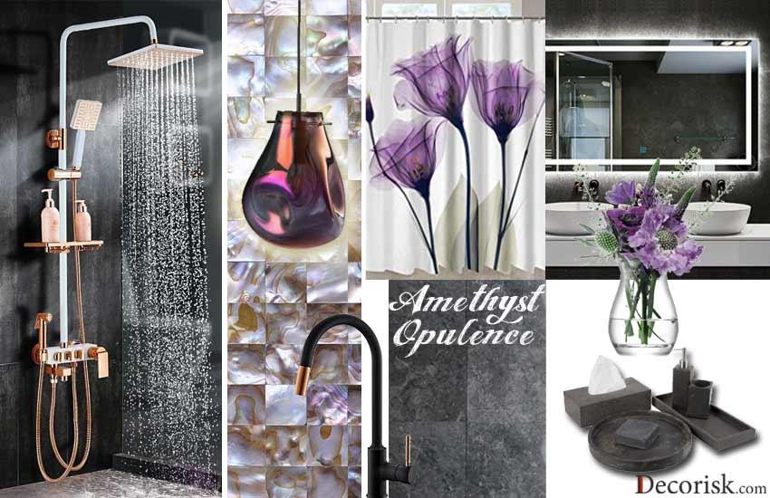 dark-grey-purple Bathroom Color Schemes themes modern