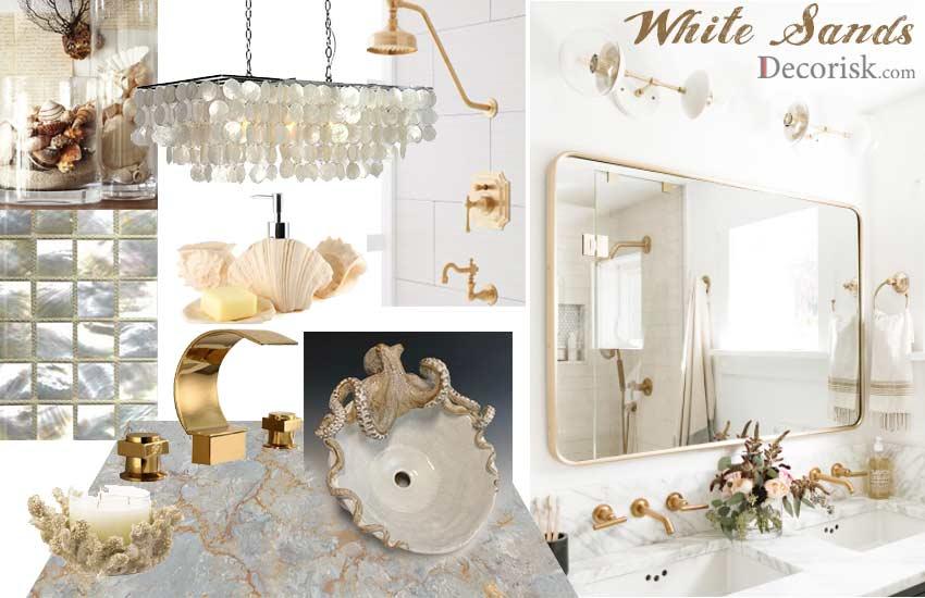 sea-shells Bathroom Color combinaions white beige coastal